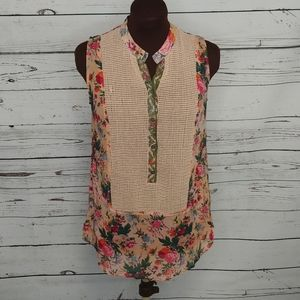 Anthro Plenty by Tracy Reese Floral Net Boho Top